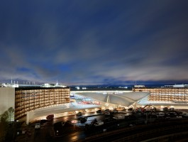 All lit up: The TWA Hotel at night